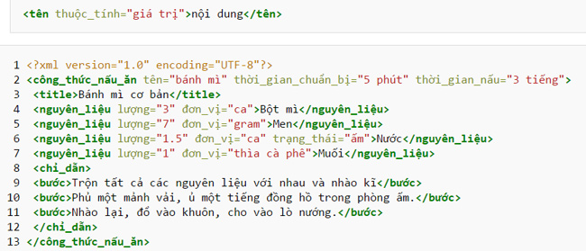 Cấu trúc 1 file XML đơn giản