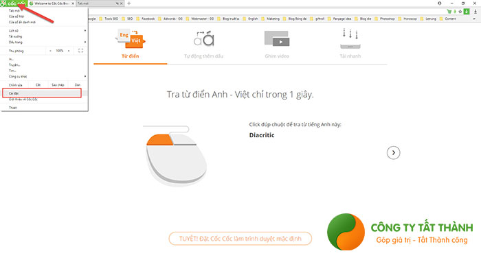 Cách chặn trang web tự mở trên Cốc Cốc bằng phần Cài đặt1