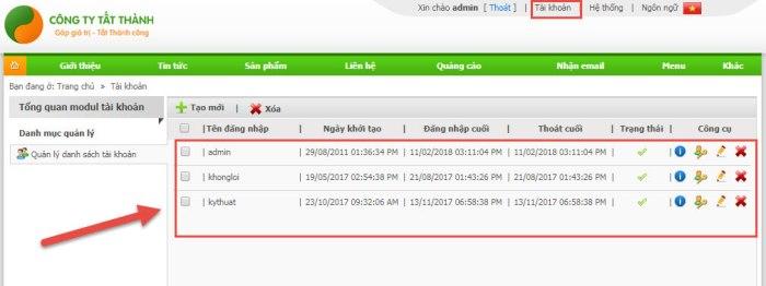 Các tài khoản khác nhau trong trang quản trị website của Tất Thành