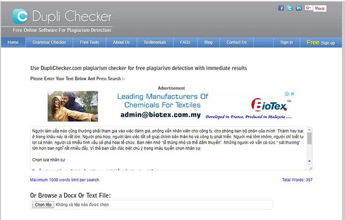 Công cụ kiểm tra trùng lặp nội dung Duli Checker