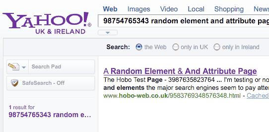 Yahoo hiển thị kết quả của từ khóa chỉ có trong Meta keywords mà không có trong nội dung bài viết